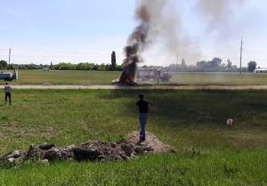 Белореченский район автомобиль загорелся на ходу