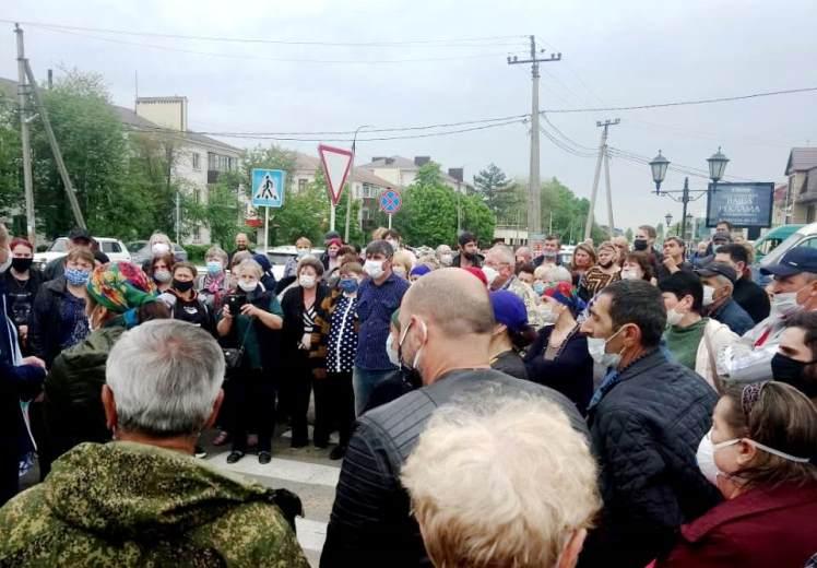 Народ протестует против закрытия рынка «Самсон» в Белореченске